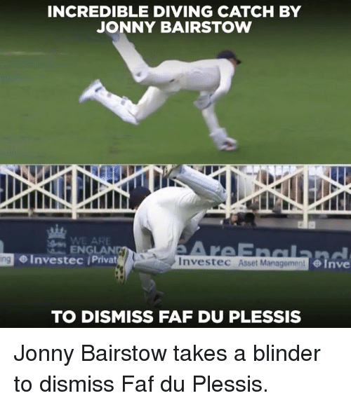 faf: INCREDIBLE DIVING CATCH BY  JONNY BAIRSTOW  ENGLAND  Investec Privat  6Tave  ing  Investec Asset Mana  TO DISMISS FAF DU PLESSIS Jonny Bairstow takes a blinder to dismiss Faf du Plessis.