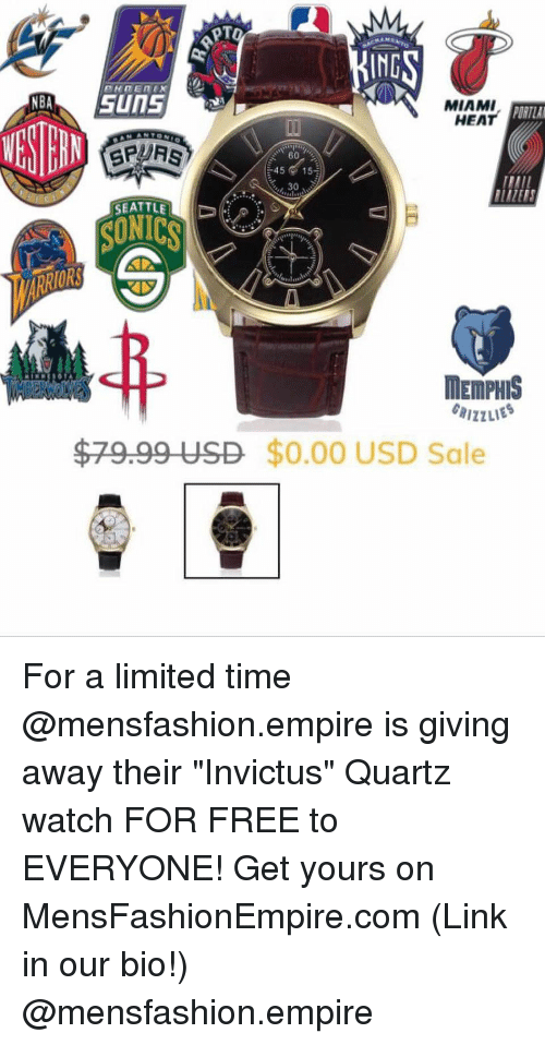 "Miami Heat: IND  MIAMI  HEAT  ORTLA  4515  30  SEATTLE  SUNICS  ORS  MEMPHIS  $79.99 USD $0.00 USD Sale For a limited time @mensfashion.empire is giving away their ""Invictus"" Quartz watch FOR FREE to EVERYONE! Get yours on MensFashionEmpire.com (Link in our bio!) @mensfashion.empire"