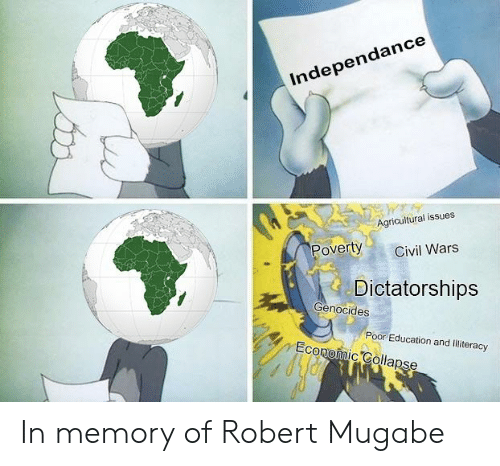 robert mugabe: Independance  Agricultural issues  Poverty  Civil Wars  Dictatorships  Genocides  Poor Education and lilliteracy  Economic Colapse In memory of Robert Mugabe