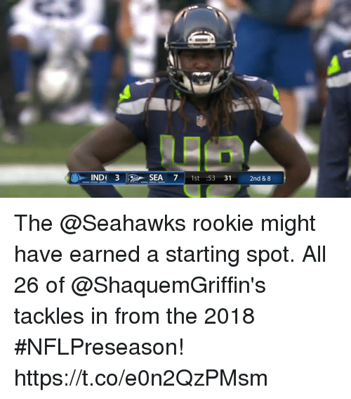 Memes, Seahawks, and 🤖: -INDI 3 R-SEA 7 | 1st :5331  2nd & 8 The @Seahawks rookie might have earned a starting spot.  All 26 of @ShaquemGriffin's tackles in from the 2018 #NFLPreseason! https://t.co/e0n2QzPMsm