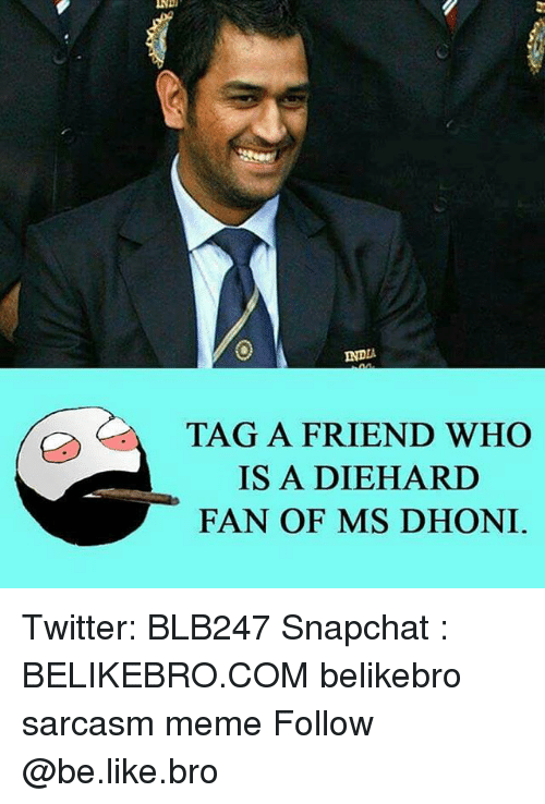 Memes, India, and Sarcasm: INDIA  TAG A FRIEND WHO  IS A DIEHARD  FAN OF MS DHONI Twitter: BLB247 Snapchat : BELIKEBRO.COM belikebro sarcasm meme Follow @be.like.bro
