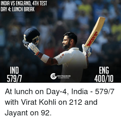 memes: INDIA VSENGLAND, 4TH TEST  IND  5797  CRICTRACKERE  ENG  400/10 At lunch on Day-4, India - 579/7 with Virat Kohli on 212 and Jayant on 92.