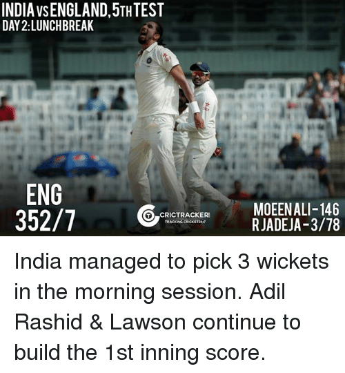 lawson: INDIA VSENGLAND, 5THTEST  DAY 2: LUNCHBREAK  ENG  352/7  CRICTRACKERS  TRACKING CRICKET24  MOEENALI-146  RJADEJA-3/78 India managed to pick 3 wickets in the morning session. Adil Rashid & Lawson continue to build the 1st inning score.