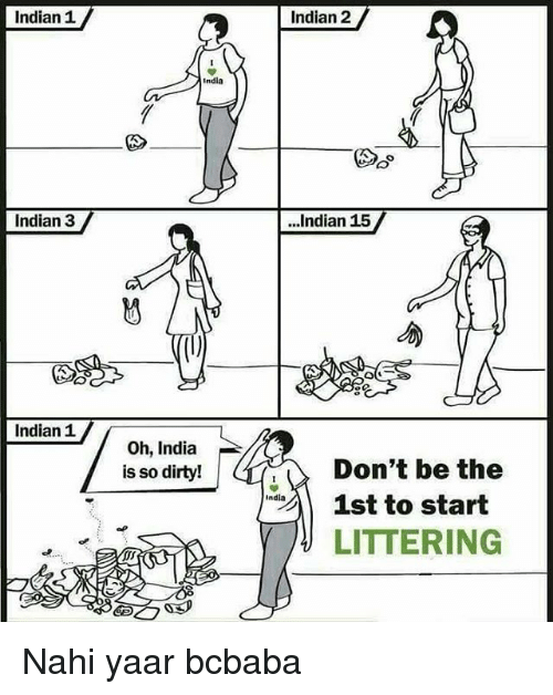 Memes, Dirty, and India: Indian 1  Indian 2  India  Do  Indian 3  ...Indian 15  勿V  Indian 1  Oh, India  is so dirty!  Don't be the  India  st to start  LITTERING Nahi yaar bcbaba