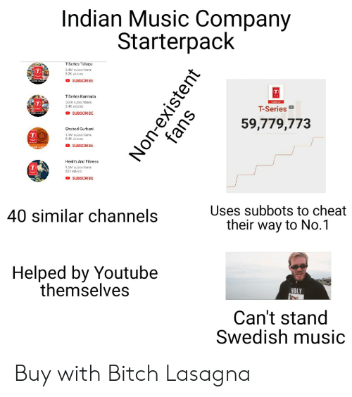 kannada: Indian Music Company  Starterpack  2AM subscribers  3.3K vid03  SUBSCRIBE  TSerles Kannada  5CEK subscribers  2.4K videos  T-Series  O SUBSCRIBE  59,779,773  Shabad Gurbani  1.1M subscribers  8.K vicOE  O SUBSCRIBE  Health And Fitness  1.GM subscribers  531 vidco5  O SUBSCRIBE  Uses subbots to cheat  their way to No.1  40 similar channels  Helped by Youtube  themselves  HOLY  Can't stand  Swedish music Buy with Bitch Lasagna