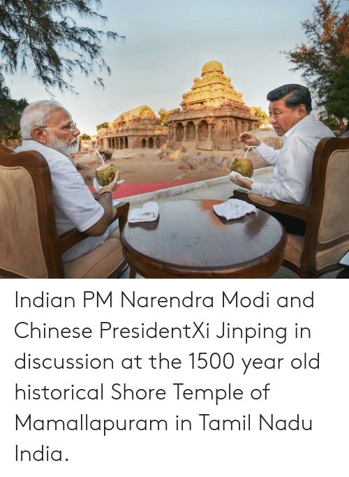 tamil nadu: Indian PM Narendra Modi and Chinese PresidentXi Jinping in discussion at the 1500 year old historical Shore Temple of Mamallapuram in Tamil Nadu India.