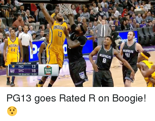 Boogies: INDIANA  44  KINGS DACSN  ND  13  18  1st Quarter 5:30  INDI  Round  Table  KINGS  KINGS PG13 goes Rated R on Boogie! 😯