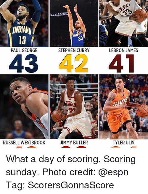 Espn, Jimmy Butler, and LeBron James: INDIANA  PAUL GEORGE  43  RUSSELL WESTBR00K  STEPHEN CURRY  JIMMY BUTLER  LEBRON JAMES  41  TYLER ULIS What a day of scoring. Scoring sunday. Photo credit: @espn Tag: ScorersGonnaScore