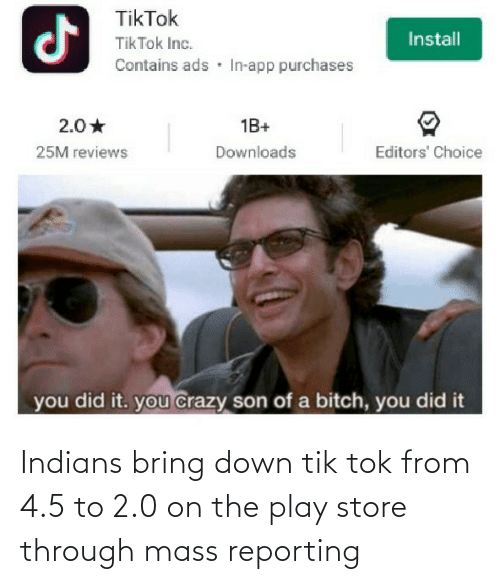 Tik: Indians bring down tik tok from 4.5 to 2.0 on the play store through mass reporting