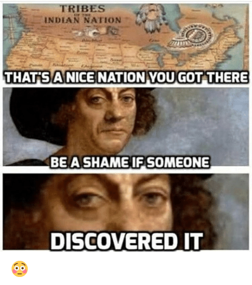Memes, Nationalism, and 🤖: INDLAN NATION  THAT ANICE NATION YOU GOT THERE  BE A SHAME IF SOMEONE  DISCOVERED IT 😳