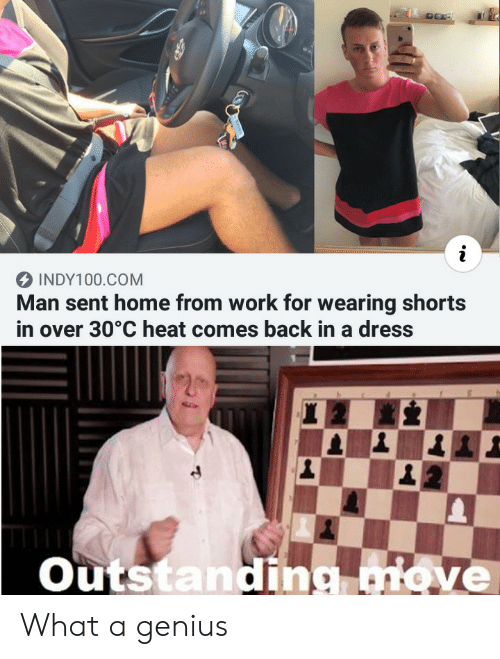 Over 30: INDY100.COM  Man sent home from work for wearing shorts  in over 30°C heat comes back in a dress  Outstanding move What a genius