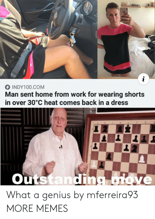 Over 30: INDY100.COM  Man sent home from work for wearing shorts  in over 30°C heat comes back in a dress  Outstanding move What a genius by mferreira93 MORE MEMES