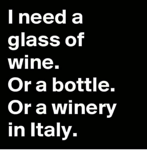 Ineed: Ineed a  glass of  wine.  Or a bottle.  Or a winery  in Italy.