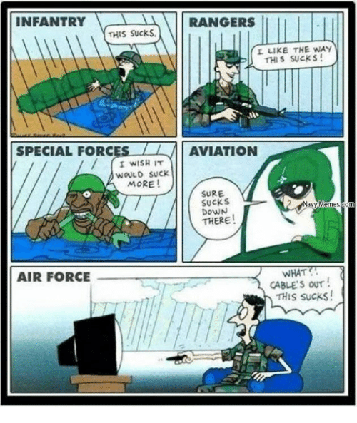 Military, Air, and Force: INFANTRY  RANGERS  THIS Sucks.  L LIKE THE WAY  THIS SUCKS!  SPECIAL FORC  LL AVIATION  I WISH IT  WOULD SUCK.  MORE!  SURE.  SUCKS  THERE  WHAT  AIR FORCE  CABLES OUT  THIS sucks!