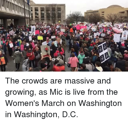 Womens March On Washington: INFI  ss The crowds are massive and growing, as Mic is live from the Women's March on Washington in Washington, D.C.