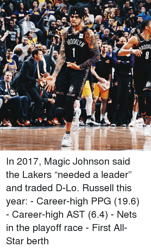 """Nets: infor  ROOK  2t In 2017, Magic Johnson said the Lakers """"needed a leader"""" and traded D-Lo.  Russell this year: - Career-high PPG (19.6) - Career-high AST (6.4) - Nets in the playoff race - First All-Star berth"""