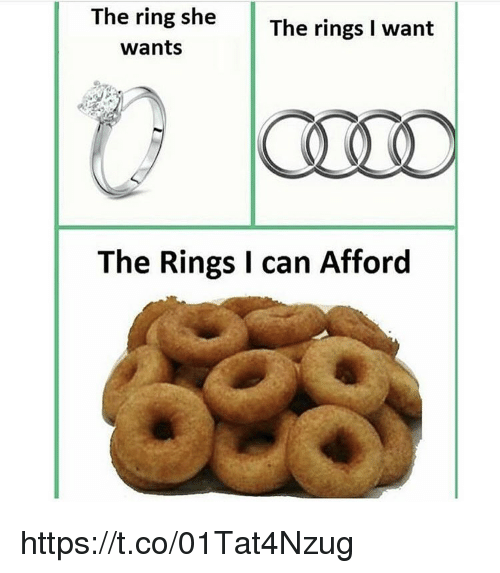 Memes, 🤖, and Can: ing sheThe rings I want  wants  The Rings I can Afford https://t.co/01Tat4Nzug