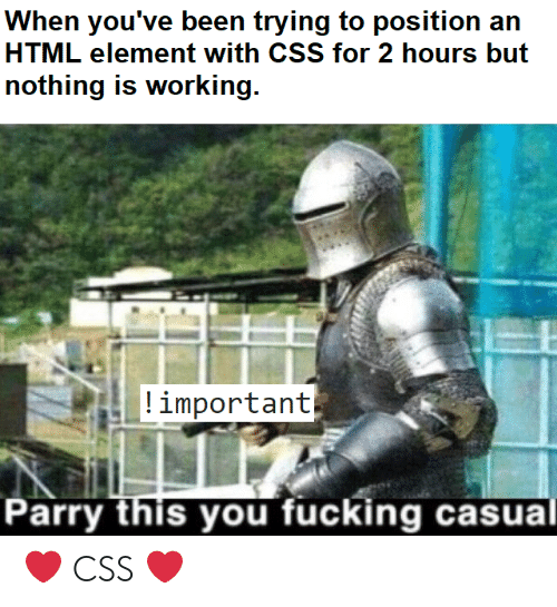 Fucking Casual: ing to position an  HTML element with CSS for 2 hours but  nothing is working  important  arry this you fucking casual ❤️ CSS ❤️