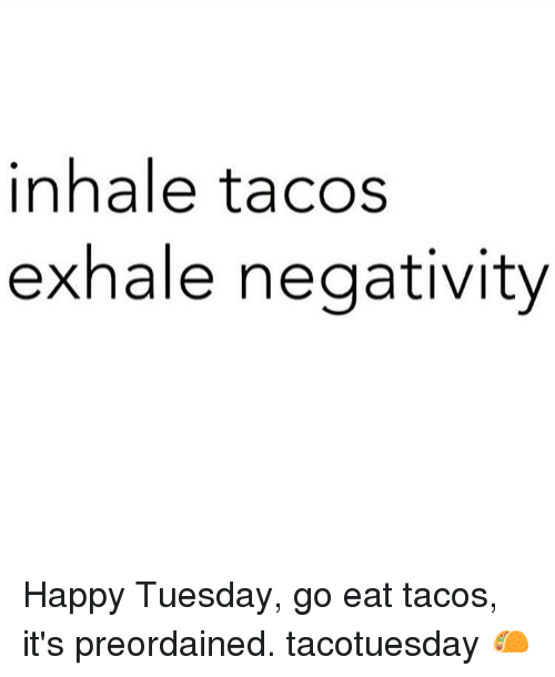 Happy, Girl Memes, and Happiness: inhale tacos  exhale negativity Happy Tuesday, go eat tacos, it's preordained. tacotuesday 🌮