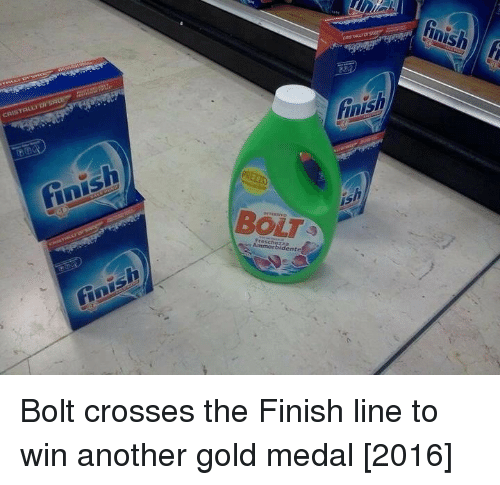 bolt: inish  BOLT Bolt crosses the Finish line to win another gold medal [2016]