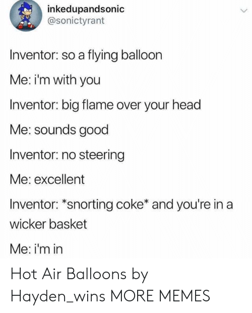 hot air balloons: inkedupandsonic  @sonictyrant  Inventor: so a flying balloon  Me: im with you  Inventor: big flame over your head  Me: sounds good  Inventor: no steering  Me: excellent  Inventor: *snorting coke* and you're in a  wicker basket  Me: i'm in Hot Air Balloons by Hayden_wins MORE MEMES
