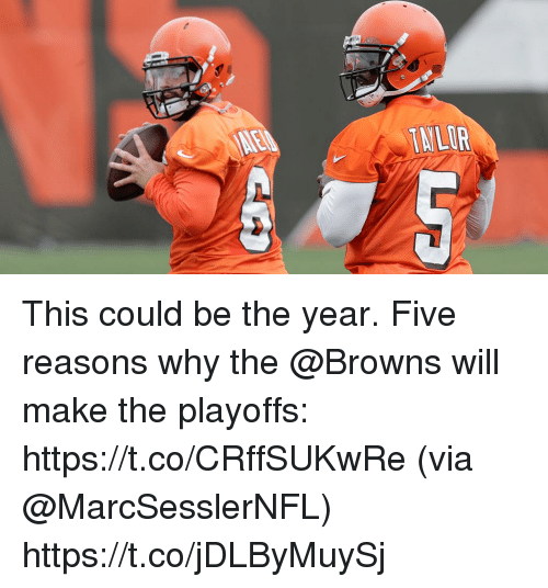 Memes, Browns, and 🤖: INLIR This could be the year.  Five reasons why the @Browns will make the playoffs: https://t.co/CRffSUKwRe (via @MarcSesslerNFL) https://t.co/jDLByMuySj