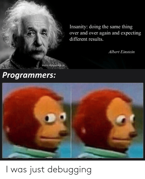 Results: Insanity: doing the same thing  over and over again and expecting  different results.  Albert Einstein  www.thequotes.in  Programmers: I was just debugging