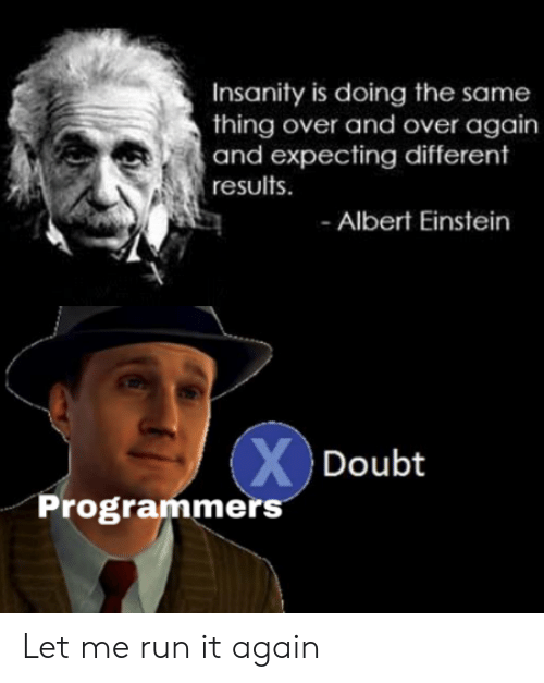 Results: Insanity is doing the same  thing over and over again  and expecting different  results  Albert Einstein  XDoubt  Programmers Let me run it again