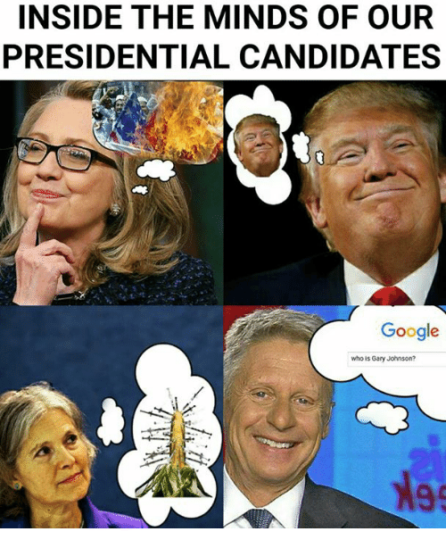 Google, Dank Memes, and Candide: INSIDE THE MINDS OF OUR  PRESIDENTIAL CANDIDATES  Google  who is Gary Johnson?