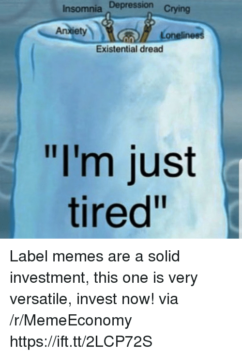 "Memes, Depression, and Insomnia: Insomnia Depression  Anletynn  Loneliness  Existential dread  ""I'm just  tired"" Label memes are a solid investment, this one is very versatile, invest now! via /r/MemeEconomy https://ift.tt/2LCP72S"
