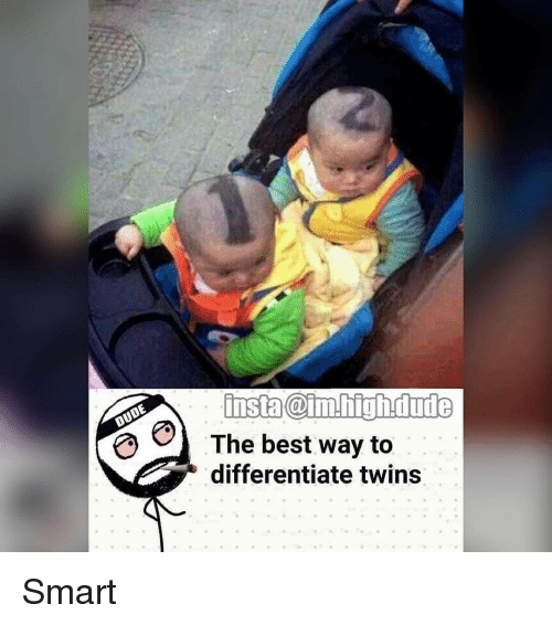 Dude, Memes, and Twins: insta Caim.high dude  The best way to  differentiate twins Smart