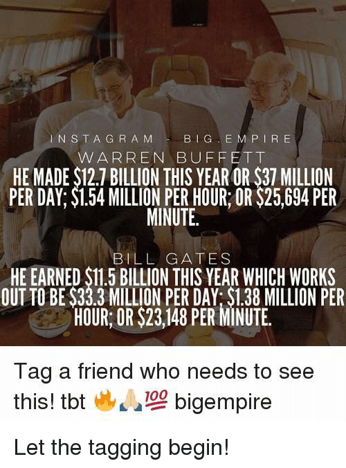 buffett: INSTA G R A M  BIG E M P IR E  W ARREN BUFFETT  HE MADE $12.7 BILLION THIS YEAR OR $37 MILLION  PER DAY; $1.54 MILLION PER HOUR OR $25,694 PER  MINUTE.  BILL GATES  HE EARNED $11.5 BILLION THIS YEAR WHICH WORKS  OUT TO BE $33.3 MILLION PER DAY: $1.38 MILLION PER  HOUR: OR $23,148 PER MINUTE.  Tag a friend who needs to see  this! tbt  bigempire Let the tagging begin!