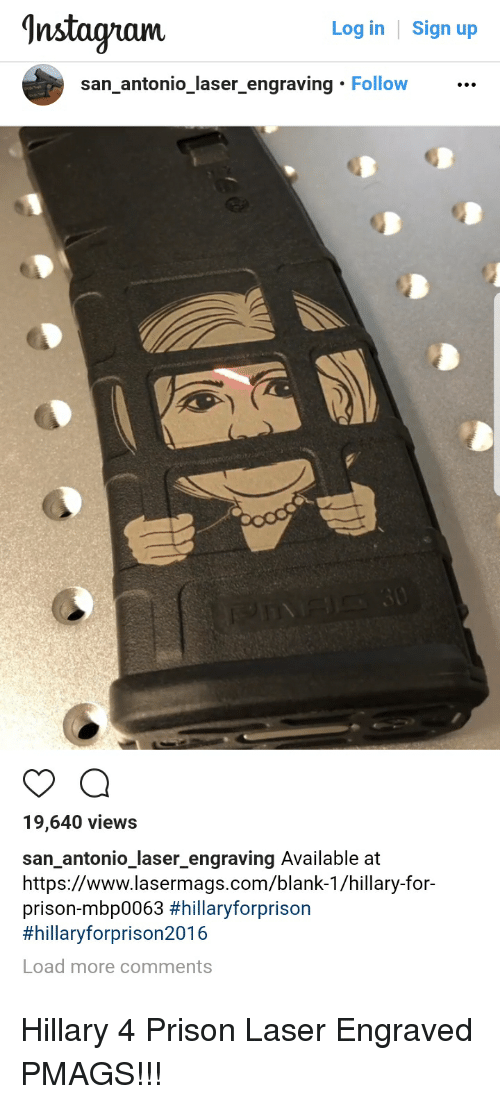 Hillaryforprison2016: Instagnami  Log in  Sign up  san_antonio_laser_engraving Follow...  19,640 views  san antonio laser_engraving Available at  https://www.lasermags.com/blank-1/hillary-for-  prison-mbp0063 #hillaryforprison  #hillaryforprison2016  Load more comments