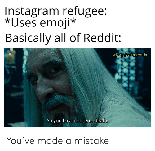 Normie: Instagram refugee:  *Uses emoji*  Basically all of Reddit  u/just a boring normie  So you have chosen... death. You've made a mistake