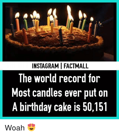 World Records: INSTAGRAMI FACTMALL  The world record for  Most candles ever put on  A birthday cake is 50,151 Woah 😍