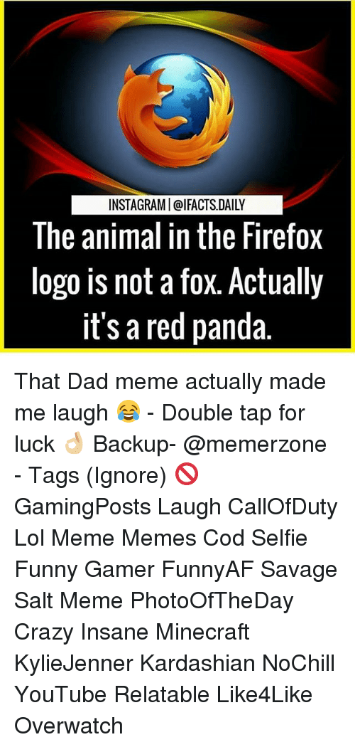 Dad Meme: INSTAGRAMI@IFACTS DAILY  The animal in the Firefox  logo is not a fox. Actually  it's a red panda. That Dad meme actually made me laugh 😂 - Double tap for luck 👌🏼 Backup- @memerzone - Tags (Ignore) 🚫 GamingPosts Laugh CallOfDuty Lol Meme Memes Cod Selfie Funny Gamer FunnyAF Savage Salt Meme PhotoOfTheDay Crazy Insane Minecraft KylieJenner Kardashian NoChill YouTube Relatable Like4Like Overwatch