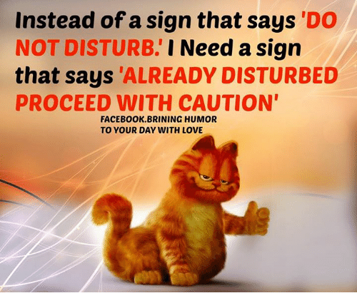 Memes, 🤖, and Disturbed: Instead of a sign that says DO  NOT DISTURB.  I Need a sign  that says ALREADY DISTURBED  PROCEED WITH CAUTION  FACEBOOK BRINING HUMOR  TO YOUR DAY WITH LOVE