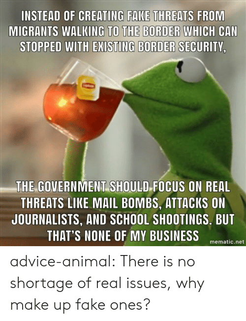 school shootings: INSTEAD OF CREATING FAKE THREATS FROM  MIGRANTS WALKING WHICH CAN  STOPPED WITH EXISTING BORDER SECURITY,  TO THE BORDER  THE GOVERNMENT SHOULD FOCUS ON REAL  THREATS LIKE MAIL BOMBS, ATTACKS ON  JOURNALISTS, AND SCHOOL SHOOTINGS. BUT  THAT'S NONE OF MY BUSINESSematie net advice-animal:  There is no shortage of real issues, why make up fake ones?