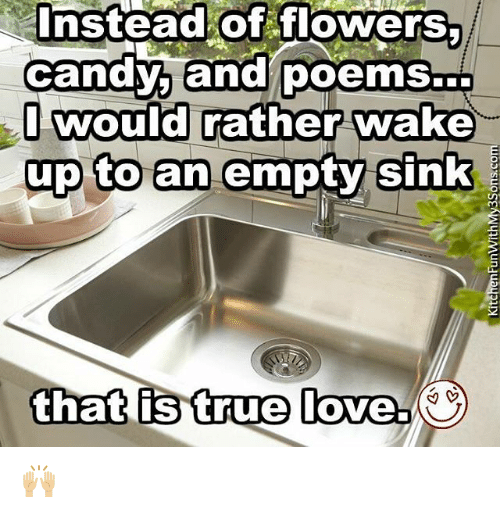 Memes, 🤖, and Wake: Instead of flowers,  of  candy, and poems...  I would  rather wake  up to an empty sink  that is true  love. 🙌🏼