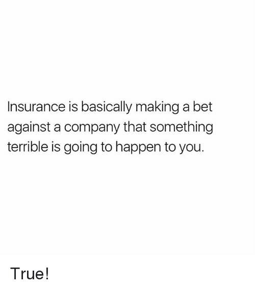 Memes, True, and 🤖: Insurance is basically making a bet  against a company that something  terrible is going to happen to you. True!
