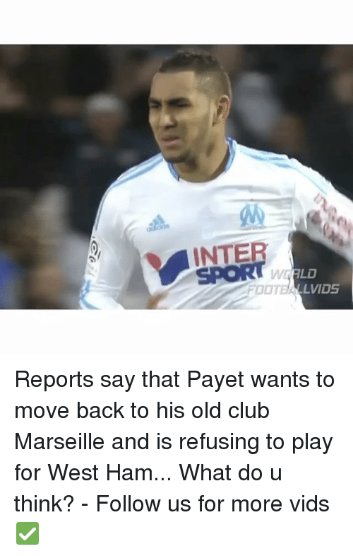 Memes, 🤖, and Ham: INTE  LVIDS Reports say that Payet wants to move back to his old club Marseille and is refusing to play for West Ham... What do u think? - Follow us for more vids ✅