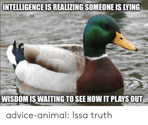 issa: INTELLIGENCE IS REALIZING SOMEONE IS LYING  WISDOMISWAITING TO SEE HOW IT PLAYSOUT advice-animal:  Issa truth