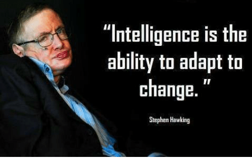 "Stephen Hawk: ""Intelligence is the  ability to adapt to  change.  Stephen Hawking"