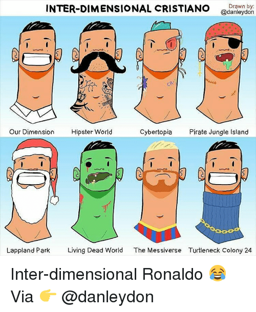 turtleneck: INTER-DIMENSIONAL CRISTIANO  Drawn by:  @danleydon  CR  Cyber topia Pirate Jungle Island  Our Dimension  Hipster World  Lappland Park Living Dead World  The Messiverse Turtleneck Colony 24 Inter-dimensional Ronaldo 😂 Via 👉 @danleydon