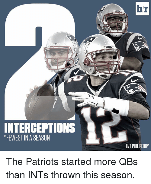 perri: INTERCEPTION  KFEWESTINA SEASON  br  HIT PHIL PERRY The Patriots started more QBs than INTs thrown this season.