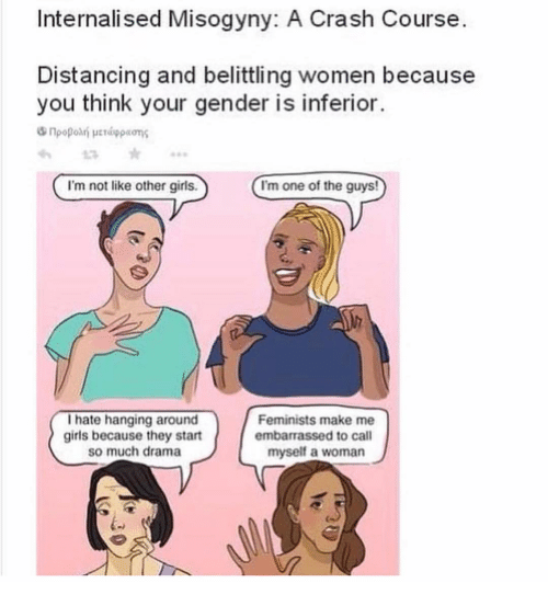 Girls, Memes, and Women: Internalised Misogyny: A Crash Course  Distancing and belittling women because  you think your gender is inferior.  Προρολή μεταφρασης  I'm not like other girls.  I'm one of the guys!  I hate hanging around  girls because they start  so much drama  Feminists make me  embarrassed to call  myself a woman