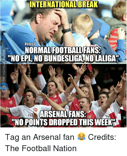 "Memes, 🤖, and Epl: INTERNATIONAL BREAK  #rmsl  NORMAL FOOTBALLFANS  ""NO EPL, NOBUNDESLIGA, NOLALIGA  ARSENAL FANS  FI  ""NO POINTSDROPPEDTHISWEEKDI Tag an Arsenal fan 😂  Credits: The Football Nation"