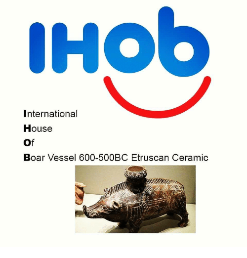 House, Etruscan, and International: International  House  Of  Boar Vessel 600-500BC Etruscan Ceramic