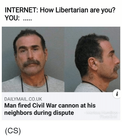 Libertarian: INTERNET: How Libertarian are you?  YOU:  DAILYMAIL.CO.UK  Man fired Civil War cannon at his  neighbors during dispute  Merissa Hamilion (CS)