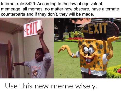 All Memes: Internet rule 3420: According to the law of equivalent  memeage, all memes, no matter how obscure, have alternate  counterparts and if they don't, they will be made  EXIT  EXIT  MARY&D Use this new meme wisely.